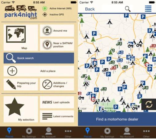 Esta aplicación para el movil es quizas la más utilizada para viajar con furgonetas camper
